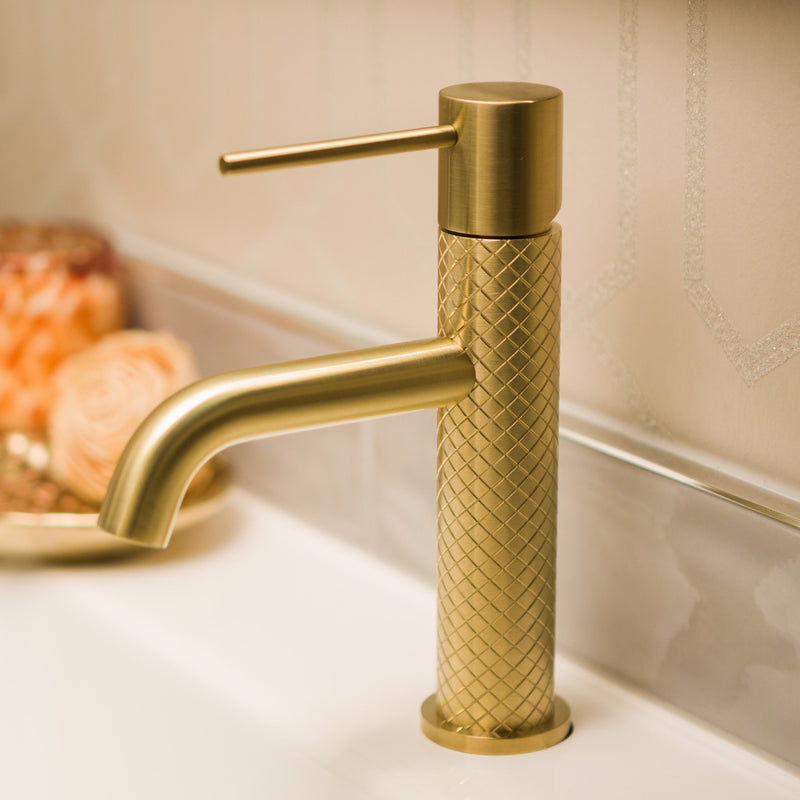 Greens Textura Basin Mixer - Brushed Brass
