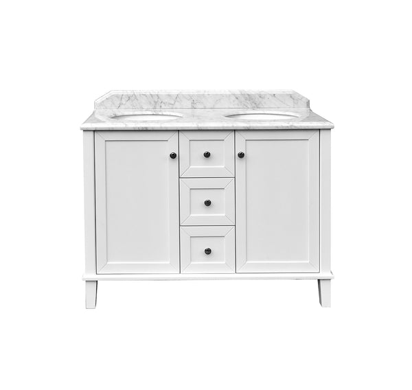 Turner Hastings Coventry 1200mm Satin White Vanity, Marble Top, Double Bowl