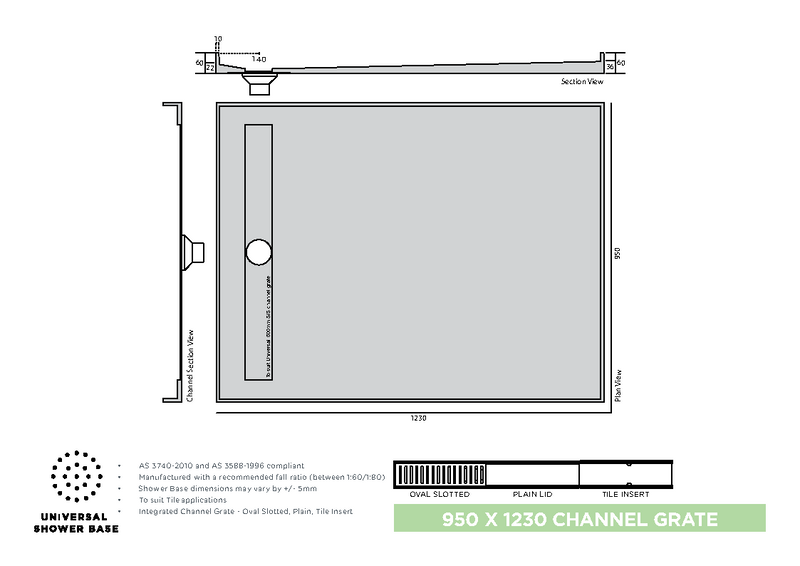 Universal Tile Tray 950 x 1230 Rear Channel