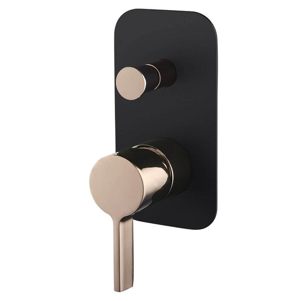 Vivo Oro Rosa ShowerBath Mixer with Diverter - Rose Gold & Black