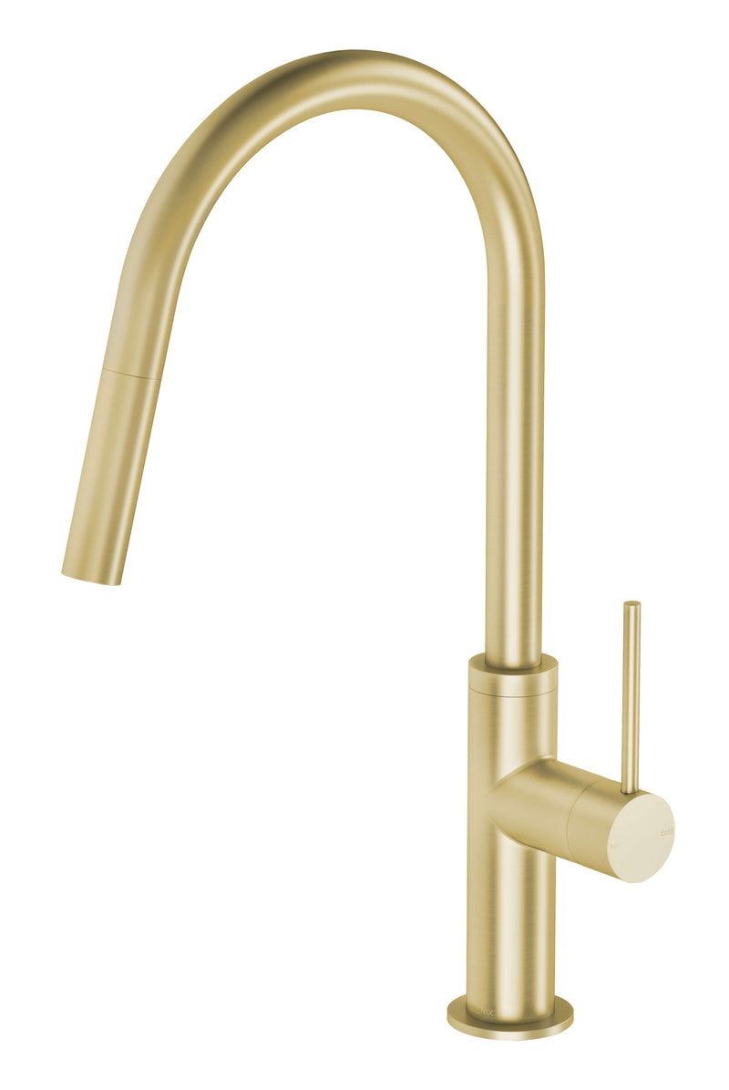 Vivid Slimline Pull Out Sink Mixer - Brushed Gold