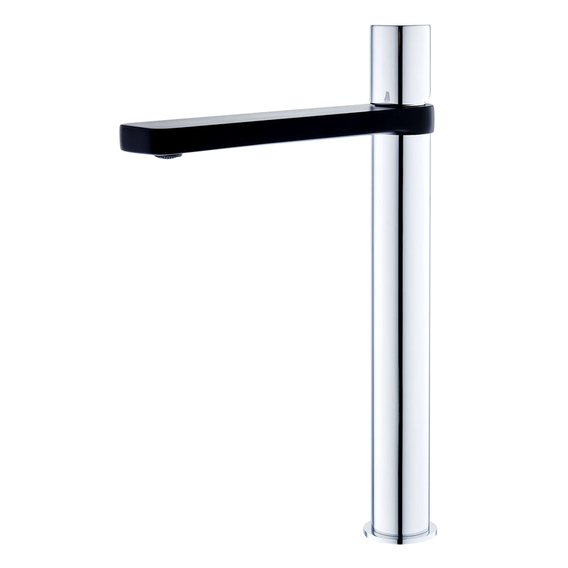 Zenon Tall Basin Mixer - Black & Chrome