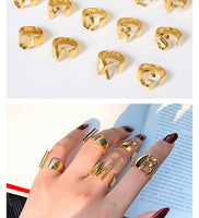 Hollow A-Z Letter Gold Color Metal Adjustable Opening Ring