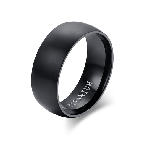 Fashion Men's Black Titanium Ring Matte Finished Classic Engagement Anel Jewelry For Male Wedding Bands