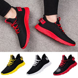 Sports Shoes Men Lace Up Mixed Color Sneakers Breathable Confort Stretch Febric Mesh Shallow Flats Male Tennis Shoes Size 47