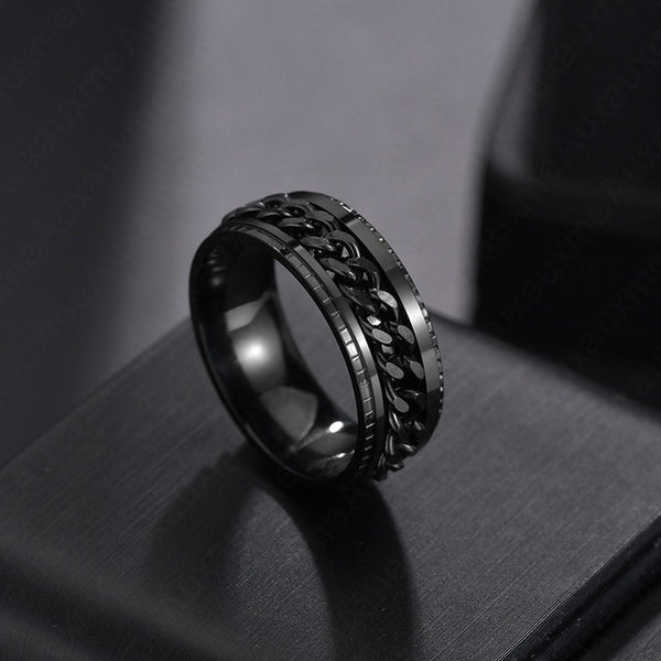 Titanium Stainless Steel Chain Spinner Ring For Men Blue Gold Black Punk Rock Rings Accessories Jewelry Gift - MegaDealin
