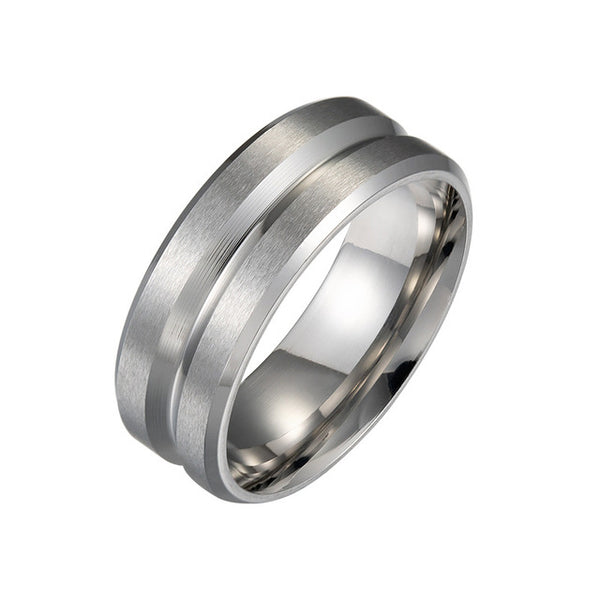 Women Men Polished Stainless Steel Ring Convention Jewelry Wedding Band Ring Valentine Gift - MegaDealin