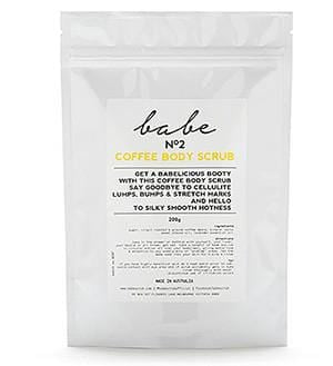 Babe Coffee Body scrub helps smooths lumps and bumps