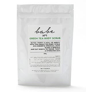 Babe Green Tea body scrub helps calm acne and psoriasis