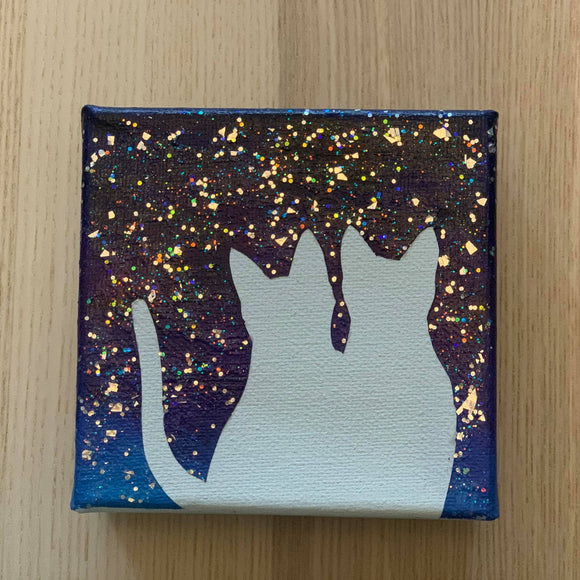 Canvas Art - Starry night with 2 cats