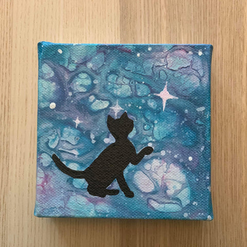 Canvas Art - Starry night with 1 cat