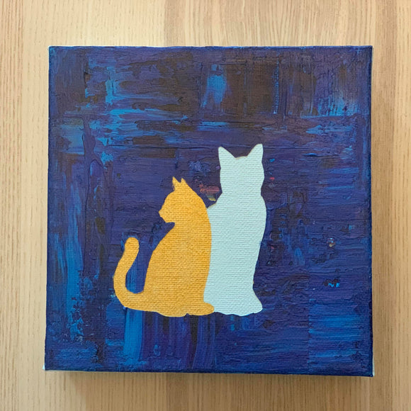 Canvas Art - 2 Cats Blue Background