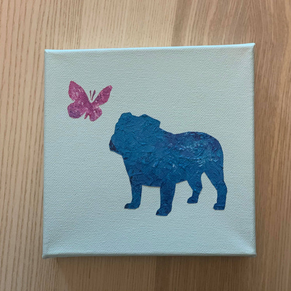 Canvas Art - Bulldog and Butterfly