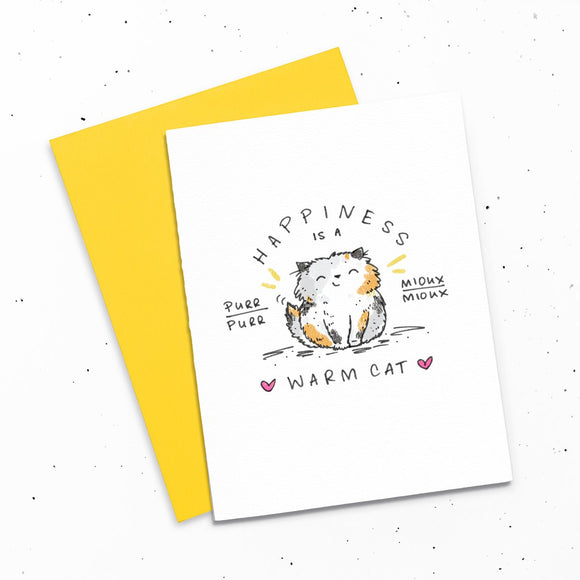 Card - Happiness is a Warm Cat