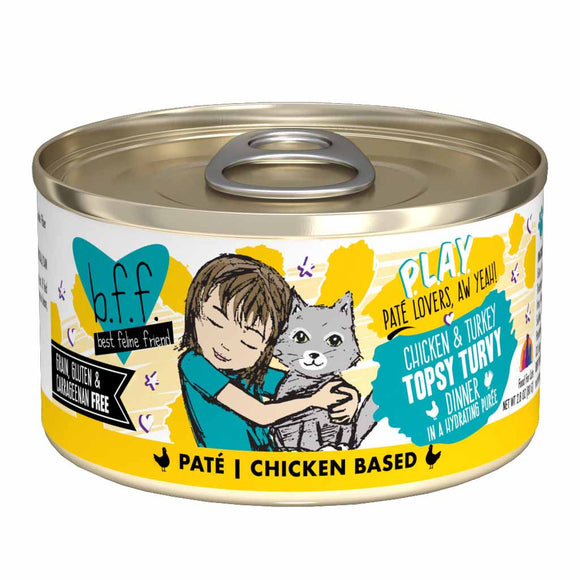B.F.F. Cat Canned - PLAY Pate Topsy Turvy - Chicken & Turkey