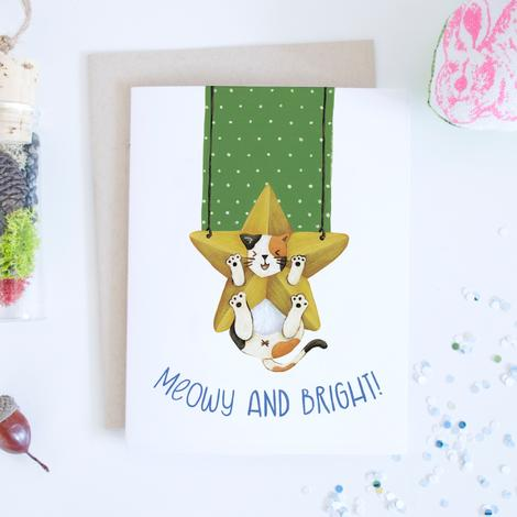Card - Meowy and Bright Calico Cat Star