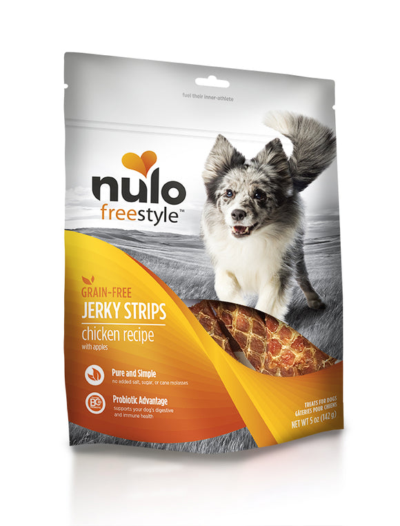 NULO Dog Treats Jerky Strips - Chicken with Apples