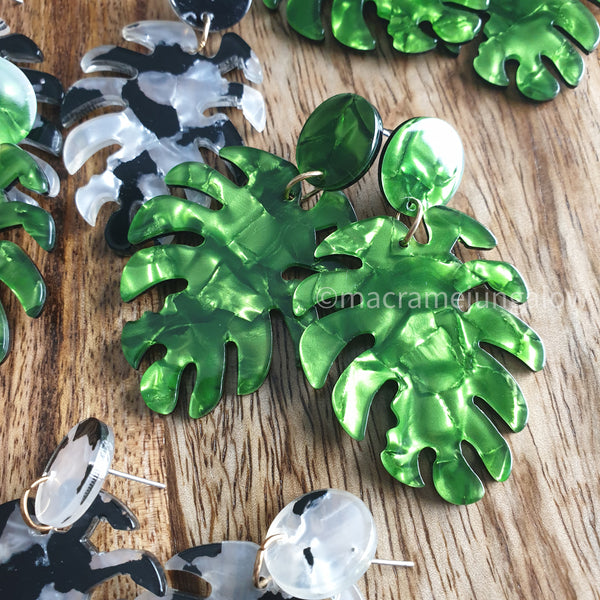 Large Marble Monstera Earrings
