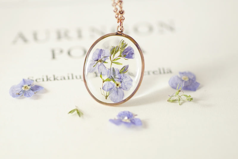 'Speedwell' flower necklace in 14K Rose gold-filled