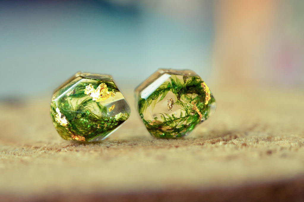 Forest moss earrings Resin jewelry Nature jewelry Green moss Christmas gift Terrarium earrings Resin jewelry Terrarium jewelry Gift for her