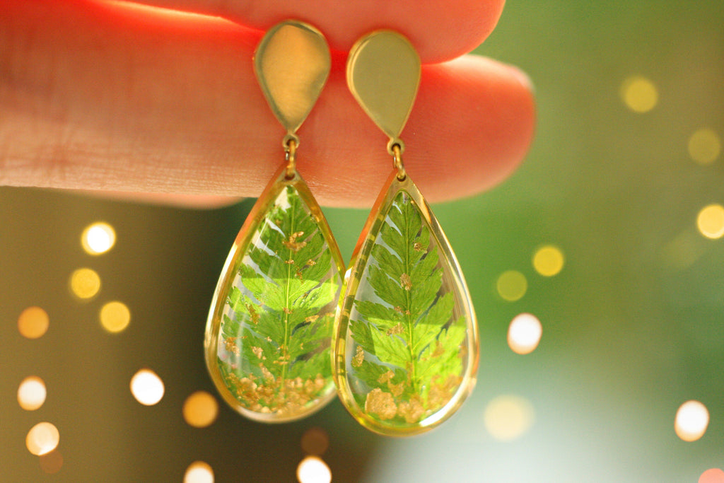 Fern earrings / Terrarium earrings / Resin earrings / Gold statement earrings / Drop earrings / Christmas gift / Birthday gift