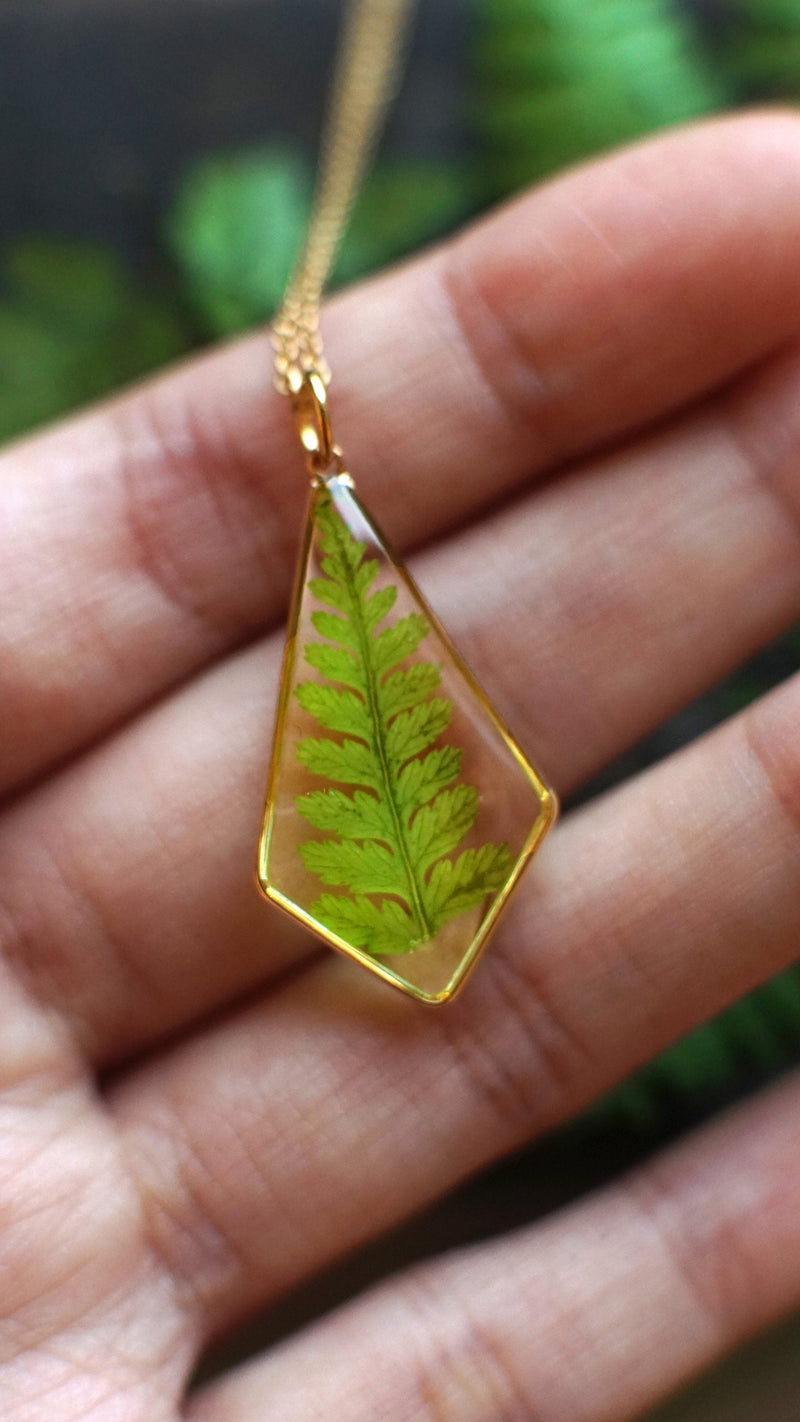 Fern Necklace / Terrarium necklace / Resin jewelry / Woodland necklace / Botanical Necklace / Christmas gift