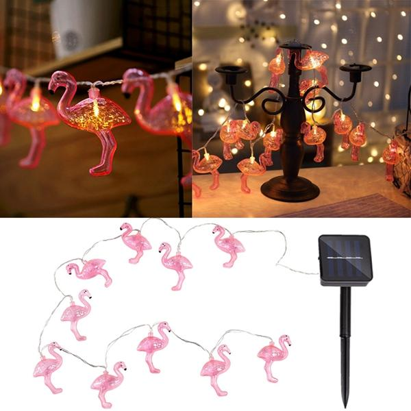Solar Powered 10LEDs Pink Flamingo Shaped Warm White String Light For Garden Outdoor Party