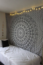 Black and White Mandala Tapestry Wall Hanging - Twin Hippie Elephant - CartUp.com