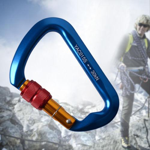 30KN Blue Aluminum Heavy Duty Twist Locking Jumbo Carabiner Clip