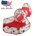 US Portable Kids Indoor Outdoor Play Tent and Crawl Tunnel Set 3 in 1 Ball Pit Tent