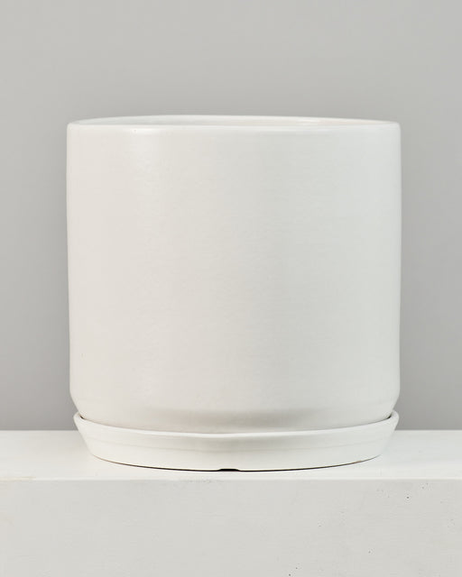 CALIFORNIA PLANTER COLLECTION: MATTE WHITE TWO PIECE CERAMIC Large 18 Inch