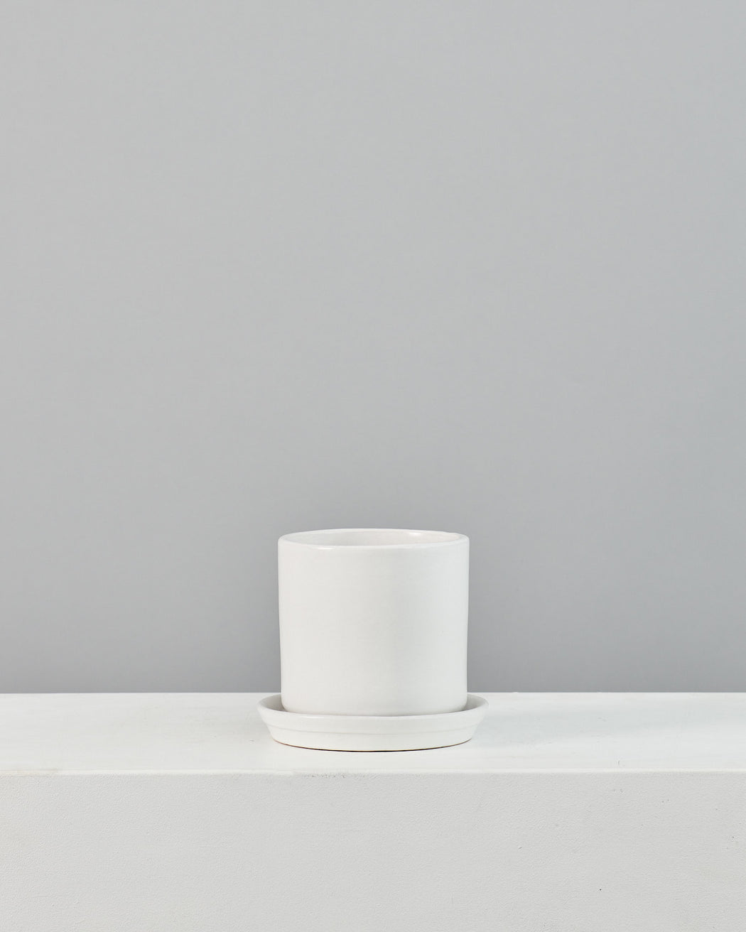 CALIFORNIA PLANTER COLLECTION: MATTE WHITE TWO PIECE CERAMIC Small 6 Inch