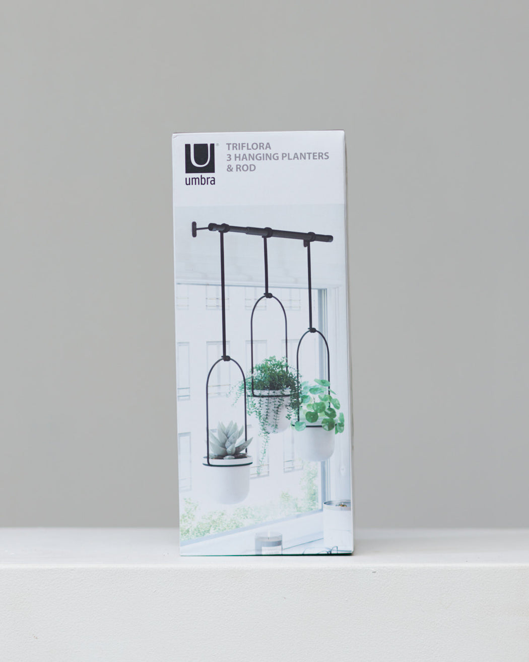 UMBRA TRIFLORA HANGING PLANTER - WHITE/BLACK