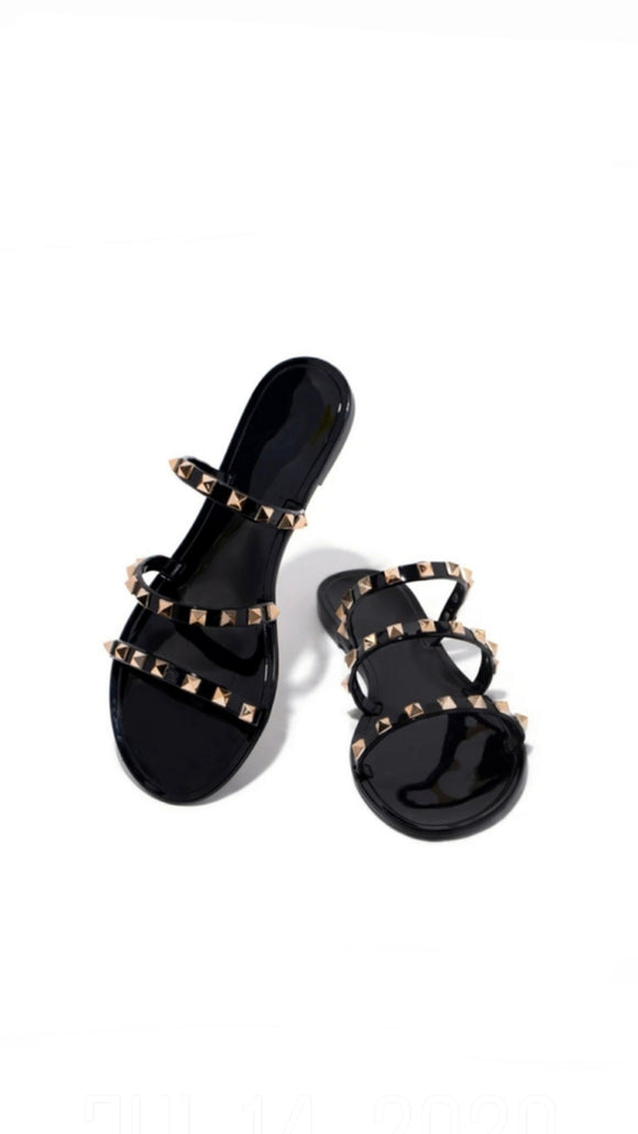 Jelly Studded Sandals - Black