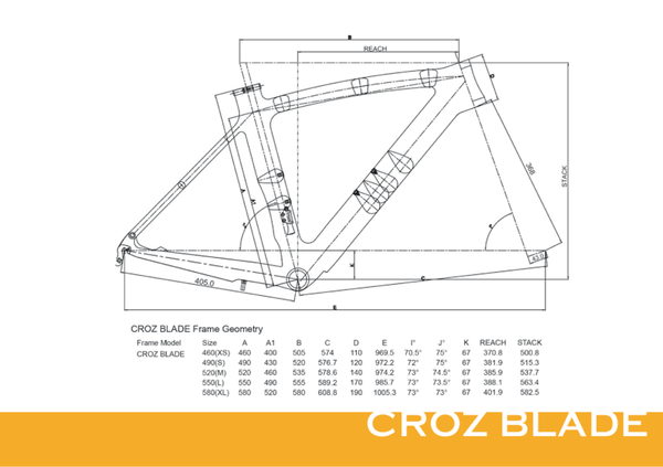 CROZ BLADE DISC BRAKE FRAMESET WITH HANDLEBAR AND STEM