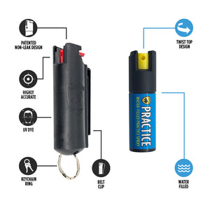 Pepper Spray Keychain w/ Practice Canister