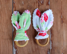 Load image into Gallery viewer, Pink Floral Bunny Ear Teethers