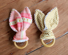 Load image into Gallery viewer, Gold and Pink Bunny Ear Teethers