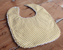 Load image into Gallery viewer, Gold Chevron Baby Bib