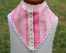 Load image into Gallery viewer, Pink Bandana Bib with Gold Details