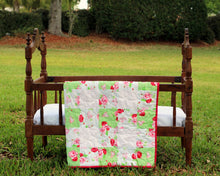 Load image into Gallery viewer, Pink Floral Shabby Chic / Farmhouse Small Quilt