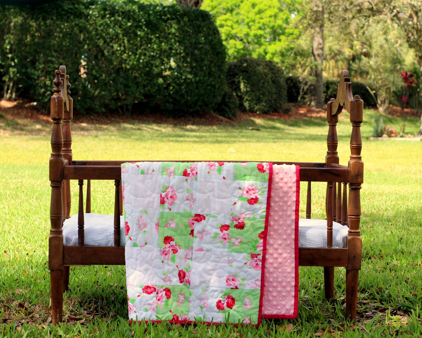 Pink Floral Shabby Chic / Farmhouse Small Quilt