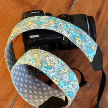 Load image into Gallery viewer, Gray Floral Camera Strap