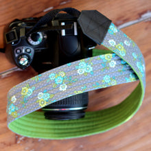 Load image into Gallery viewer, Gray Green Floral Camera Strap