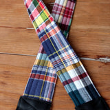 Blue Red Madras Plaid Camera Strap