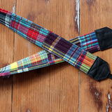 Madras Plaid Patchwork Camera Strap