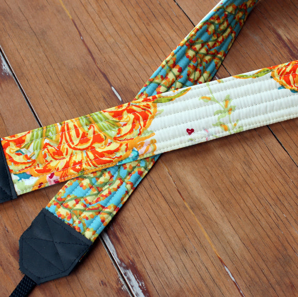 Yellow Cream Floral Camera Strap