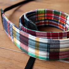 Load image into Gallery viewer, Blue Red Madras Plaid Camera Strap