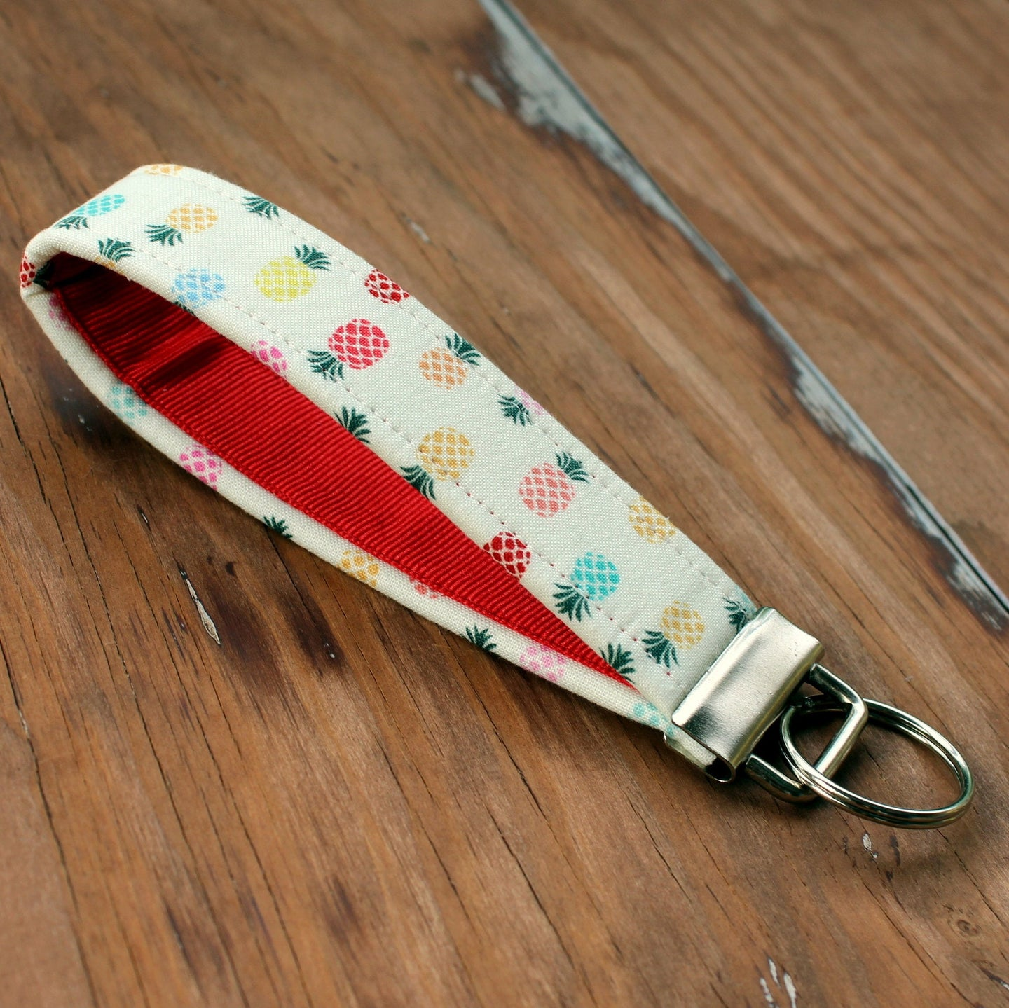Preppy Pineapple Wristlet Key Holder