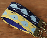 Whale Key Fob, Yellow or Navy Blue